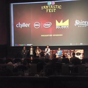 Isaac Ezban with producers Miriam Mercado and Victor Shuchleib and assistant director Stephanie Beauchef at the world premiere of THE SIMILARS at Fantastic Fest (Sept 2015, Austin, Texas)
