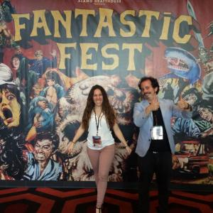 Isaac Ezban and producer Miriam Mercado at the world premiere of THE SIMILARS at Fantastic Fest (Sept 2015, Austin, Texas)