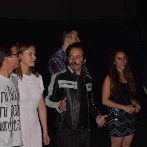 Isaac Ezban with producer Miriam Mercado, composer Edy Lan and actors Raul Mendez, Nailea Norvind and Fernando Alvarez Rebeil at the premiere of THE INCIDENT in Mexico (Sept 2015)
