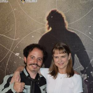 Isaac Ezban and actress Nailea Norvind at the premiere of THE INCIDENT in Mexico (Sept 2015)