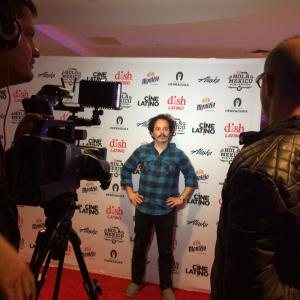Isaac Ezban in TV interview at the LA premiere of THE INCIDENT at the Hola Mexico Film Festival, May 2015