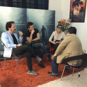 Isaac Ezban in press junket on June 2015 for the theatrical release of THE INCIDENT (September 2015) in Mexico, with actors Nailea Norvind and Fernando Alvarez Rebeil.
