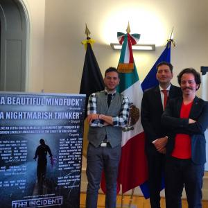 Isaac Ezban with producer Pablo Guisa Koestinger and director Diego Cohen at the Mexica embassy in Belgium, before the Belgian premiere of THE INCIDENT at BIFFF (Brussels International Fantastic Film Festival), April 2015