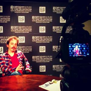 Isaac Ezban on TV interview at the Cleveland International Film Festival, March 2015
