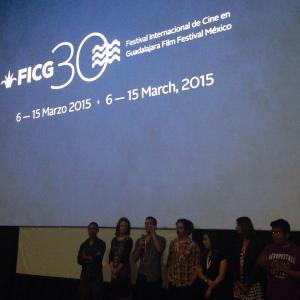 Isaac Ezban with producer Miriam Mercado and actors Nailea Norvind, Humberto Busto and Fernando Alvarez Rebeil, presenting THE INCIDENT at the Guadalajara International Film Festival, March 2015