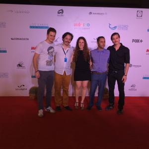 Isaac Ezban with producers Salomón Askenazi and Miriam Mercado and actors Humberto Busto and Fernando Alvarez Rebeil at the Mexican premiere of THE INCIDENT at Los Cabos International Film Festival, November 2014