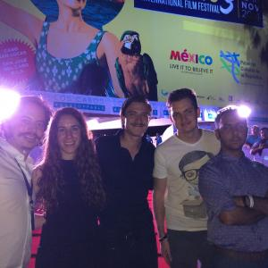 Isaac Ezban with producers Miriam Mercado and Salomon Askenazi and actors Fernando Alvarez Rebeil and Humberto Busto, ready for the mexican premiere of THE INCIDENT at Los Cabos International Film Festival