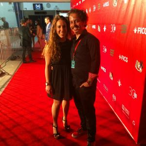 Isaac Ezban with producer and wife Miriam Mercado at the red carpet of the Guadalajara International Film Festival, ready to present THE INCIDENT, March 2015