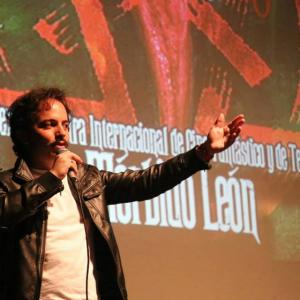 Isaac Ezban presenting his first feature film THE INCIDENT at the Opening Night of Morbido Leon, June 2015