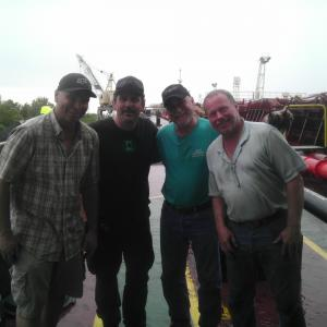 Roland Loew Me Ron Epstein and Bruce Minkus SFX Crew on Escape Plan working for Mike Lanteiri FX Awesome set on 800ft supertanker on Miss River in NOLA