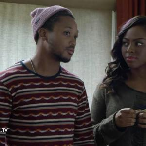 Still of Tequilla Whitfield and Romeo Miller on set of A Royal Holiday