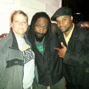 Filmmaker Elizabeth with MusicianArtist Asaan Swamburger Brooks of Solillaquists of Sound and ArtistCurator Mark Tr3 Harris at BRINK Thursdays for SUNSHINE STATE OF MIND in Orlando FL 2013