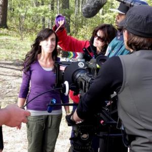April Washko on set of ELMWOOD