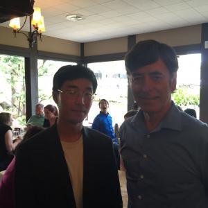 Left to right Director Jason Tong Steve Dakota Cafe Scene Dreamed Vengeance Burlingame Calif
