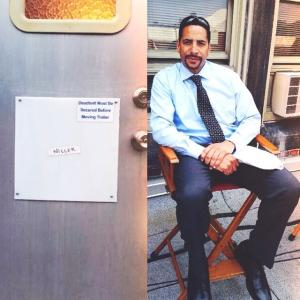 David M Raine on the set of Southpaw as Det. Miller