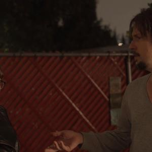 Screenshot of JohnMark Triplett Ryancowriterdirector and Katie Young Staceycowriterproducer on the set of RUNAWAY