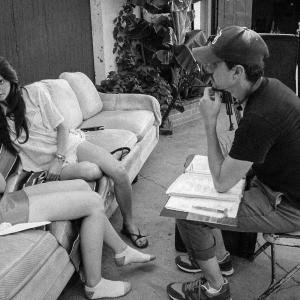 Erik Peter Carlson with Najarra Townsend and Stephanie Pearson on the set of 'Wolf Mother' in Los Angeles, August 2015.