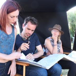 Erik Peter Carlson with Najarra Townsend on the set of 'Wolf Mother' in Sonoma County, CA.
