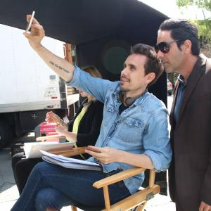 Erik Peter Carlson with Kevin Pinassi on the set of 'Wolf Mother' in Sonoma County, CA.