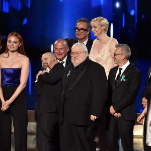 Conleth Hill, George R.R. Martin, Maisie Williams, Gwendoline Christie, Sophie Turner, John Bradley