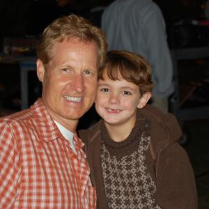 Max Charles with Brent Shields Executive Producer on the set of Hallmarks November Christmas