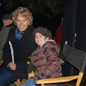 Max Charles with Director Robert Vince on the set of Spooky Buddies movie
