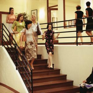 Left to right Samantha Quan as Lori Kathryn Hahn as Michelle Annie Parisse as Jeannie Kate Hudson as Andie and Bebe Neuwirth as Lana