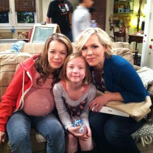Sadie on the set of Village People with Jennie Garth and Lennon Wynn