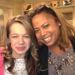 Sadie with Exec. Prod. and Writer, Meg DeLoatch, on set of