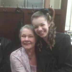 Sadie Calvano with Dame Judi Dench on the set of J. EDGAR