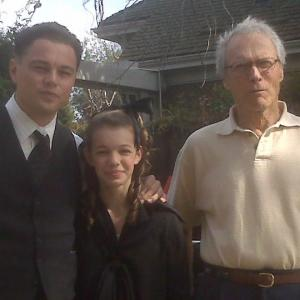 Sadie Calvano working on the set of J. EDGAR with Leonardo DiCaprio and Director Clint Eastwood