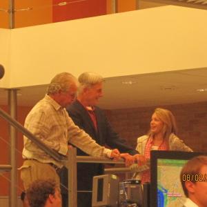 Sadie on set with William Devane and Mark Harmon