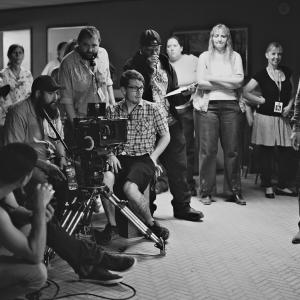 Director Roze on the set of Speak No Evil with his cast and crew