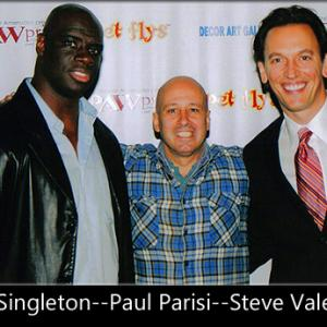 Attending a benefit for a homeless dog and cat shelter Issac Singleton Steve Valentine and Paul Parisi