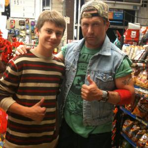 Garrett Backstrom with Stephen Baldwin at the shooting of