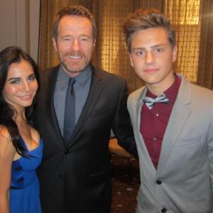 Garrett Backstrom with Bryan Cranston and Martha Higareda at the Hollywood film festival.