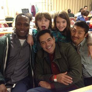 Griffin Kane with Alissa Skovbye Brian Tee Kevin Daniels and Carlos Gomez behindthescenes of One Christmas Eve 2014