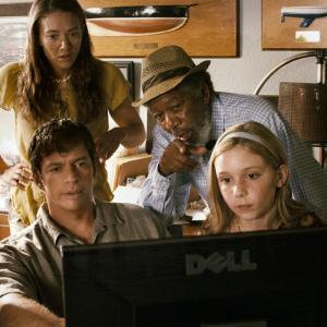 Still of Morgan Freeman, Harry Connick Jr., Nathan Gamble, Austin Highsmith and Cozi Zuehlsdorff in Dolphin Tale (2011)