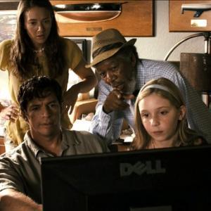 Watching a video on dolphin mechanics with Nathan Gamble, Harry Connick, Jr., Austin Highsmith and Morgan Freeman in