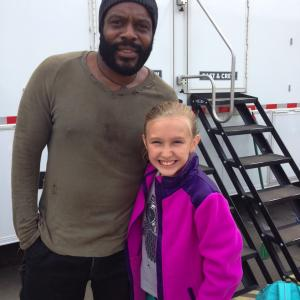 HalliGray Beasley on set of The Walking Dead with Chad Coleman