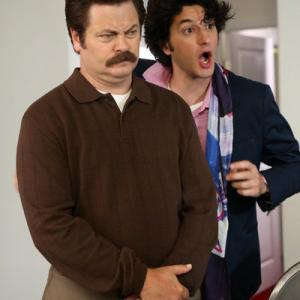 Still of Nick Offerman and Ben Schwartz in Parks and Recreation 2009