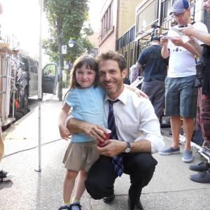 Kennedi Clements with David Julian Hirsh on set of Twist of Faith