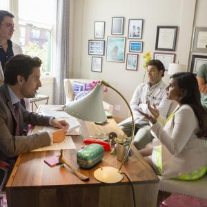 Still of Ike Barinholtz, Chris Messina, Adam Pally, Mindy Kaling and Ed Weeks in The Mindy Project (2012)