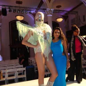 Sanjini and model at Los Angeles Fashion Week  Vibiana