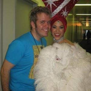 Backstage with Perez Hilton at American Idol after performing as a back up dancer for Katy Perry for her song