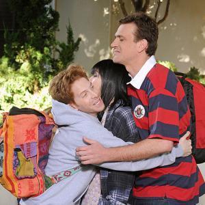 Still of Seth Green, Alyson Hannigan and Jason Segel in Kaip as susipazinau su jusu mama (2005)