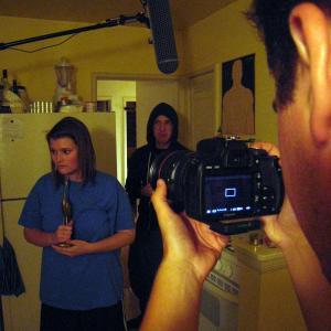 Explaining shot to Sarah Elizabeth Johnston on the set of