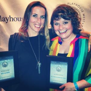 Playhouse West Film Festival. Lacy McClory (Left) Best Actress in a Drama. Kim Beavers (Right) Best Actress in a Comedy Audience Choice.