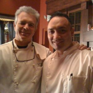 With Tony Denison on the set of Trattoria