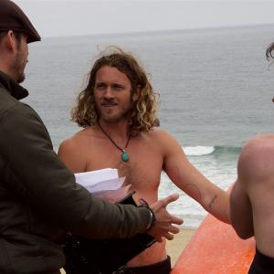 Tyler Atkins with Ari Blinder and director Drue Metz on set of The Love Effect.